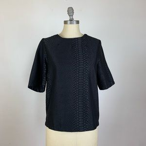 Topshop Black Reptile Print Blouse